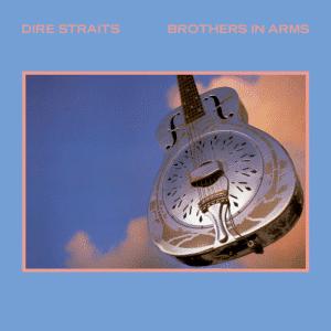 La couverture de Brothers in Arms de Dire Straits. Un résonateur National Style O flotte sur un ciel nuageux.